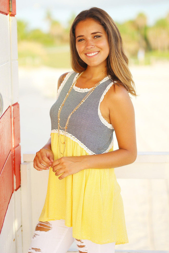 yellow high low tunic top