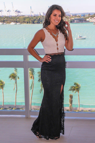 Beige and Black Lace Maxi Dress with Mesh Detail