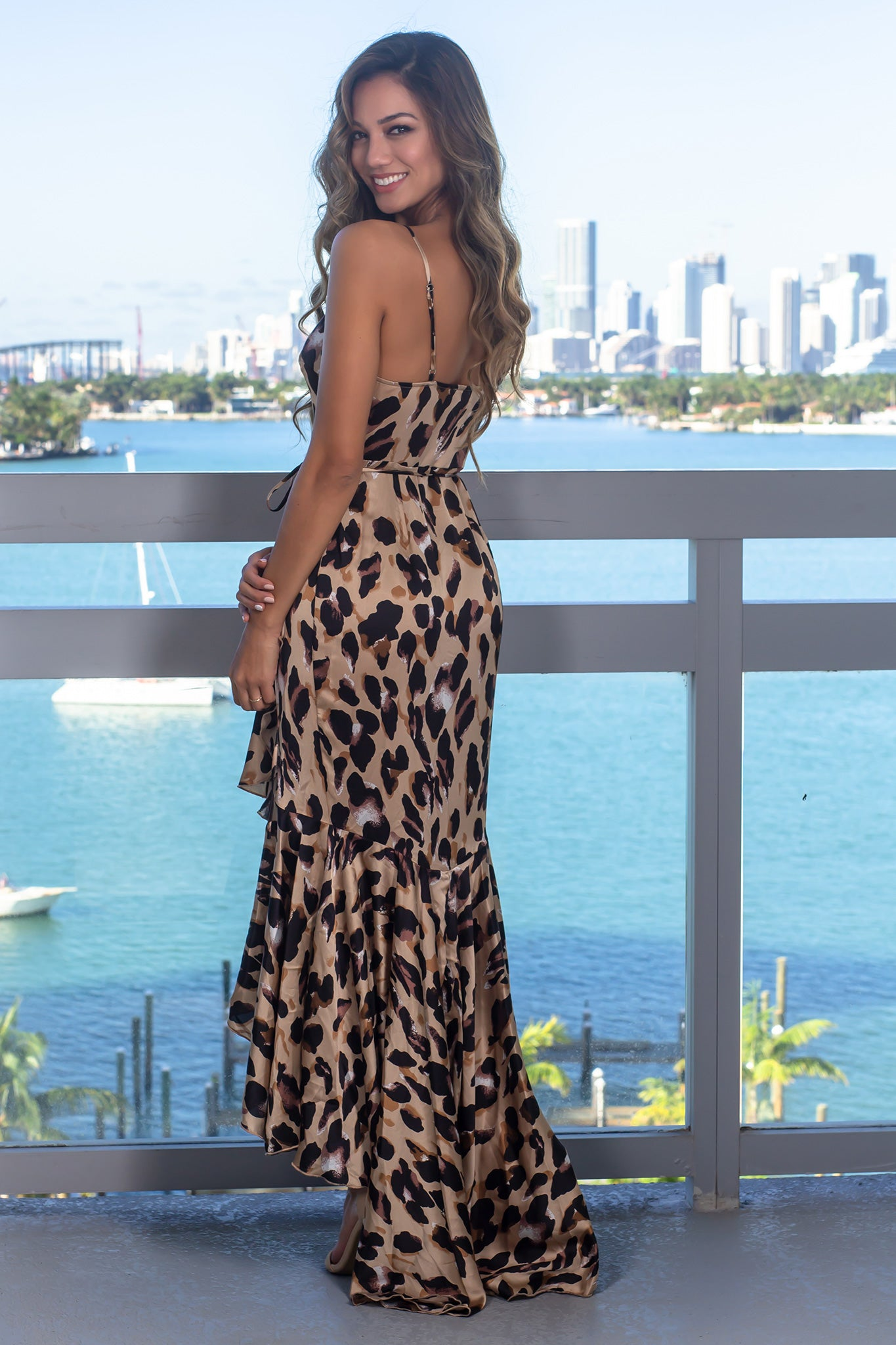 Beige Cheetah Print Wrap Dress