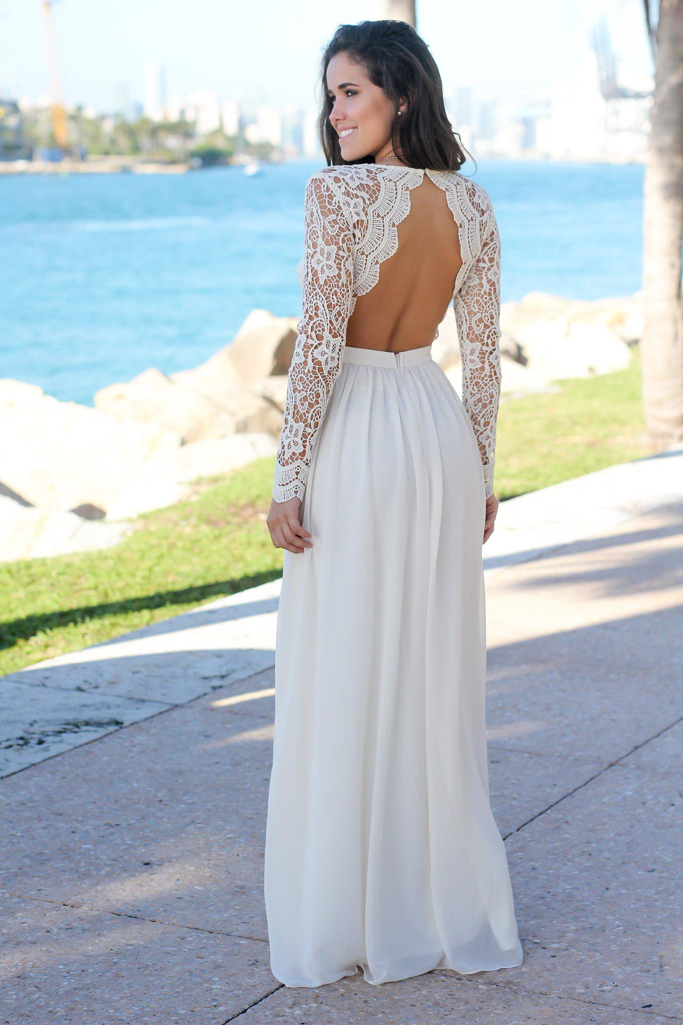 Beige Crochet Maxi Dress with Open Back