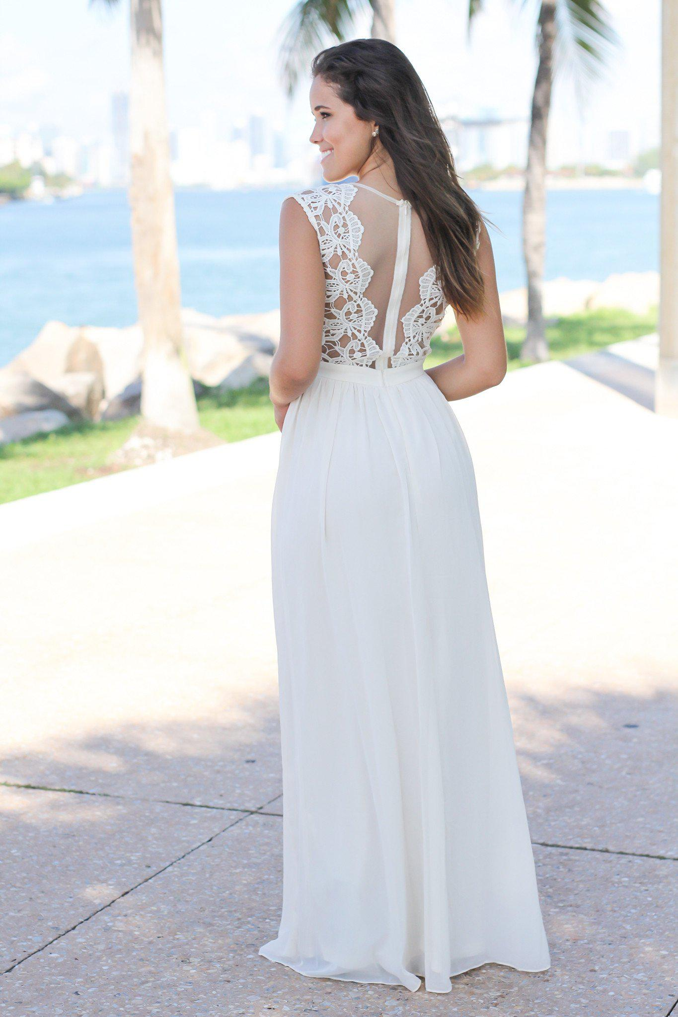 Beige Crochet Maxi Dress with Tulle Back