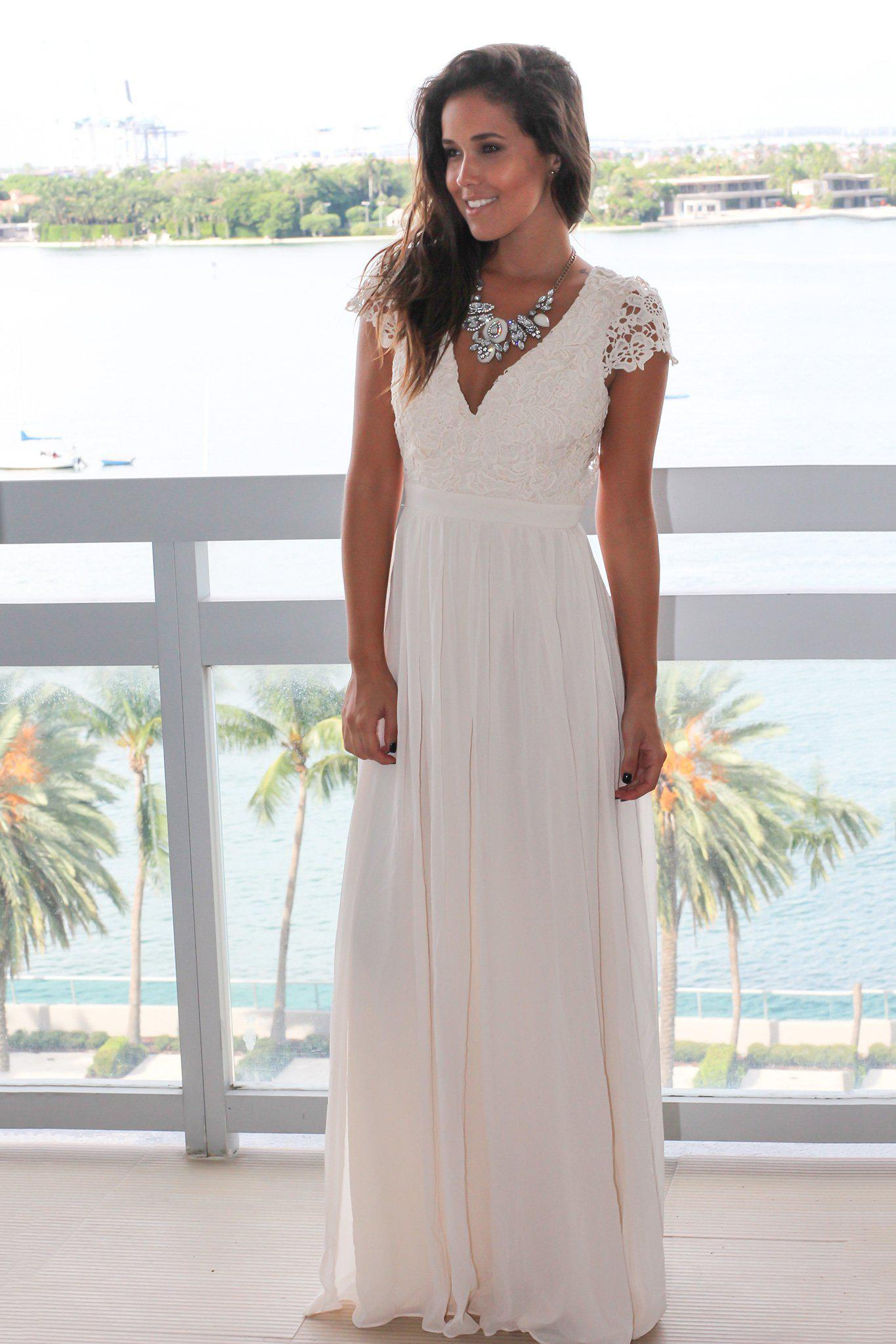 Beige Crochet Top Maxi Dress with Open Back
