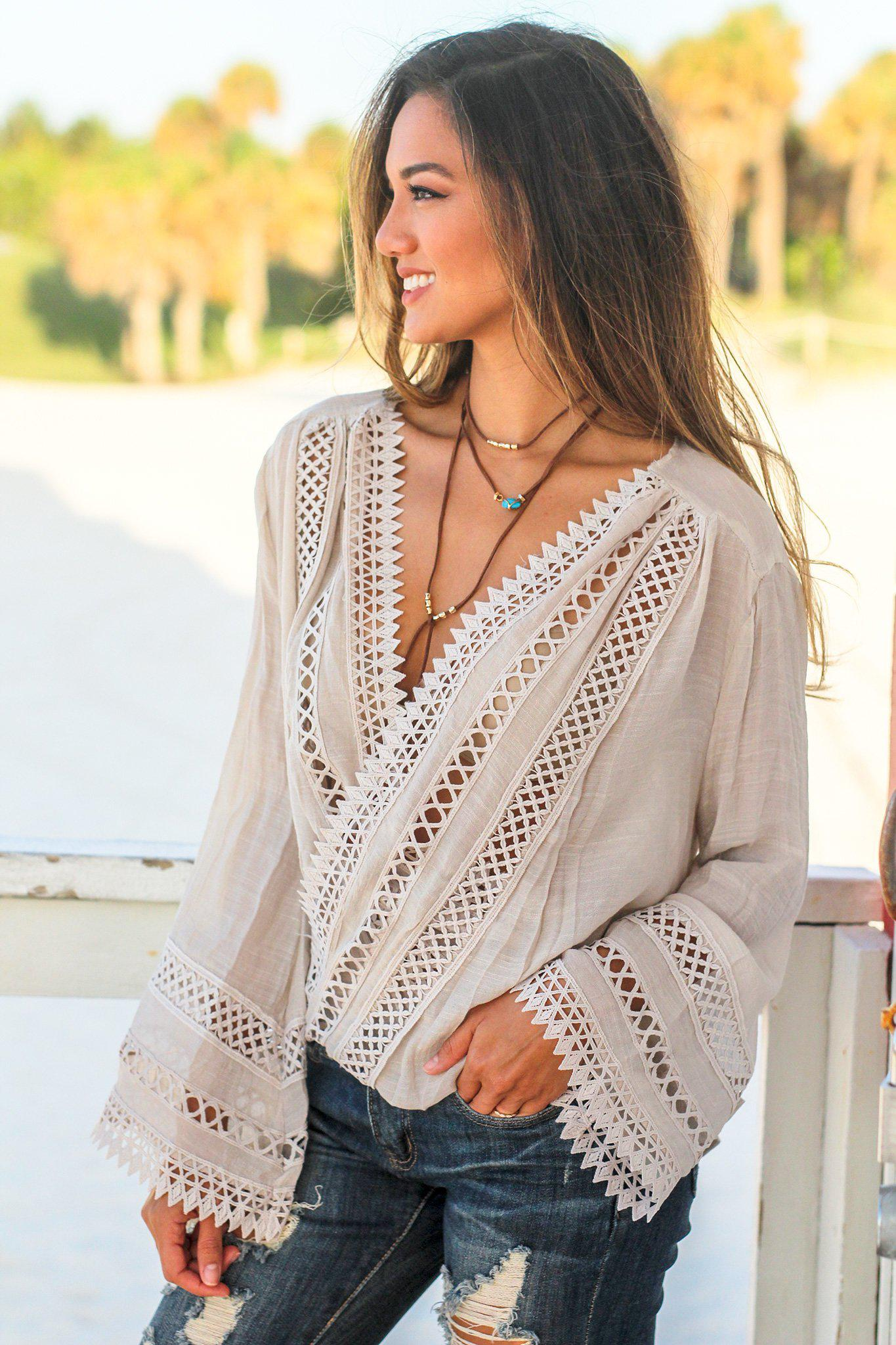 Beige Crochet Wrap Top