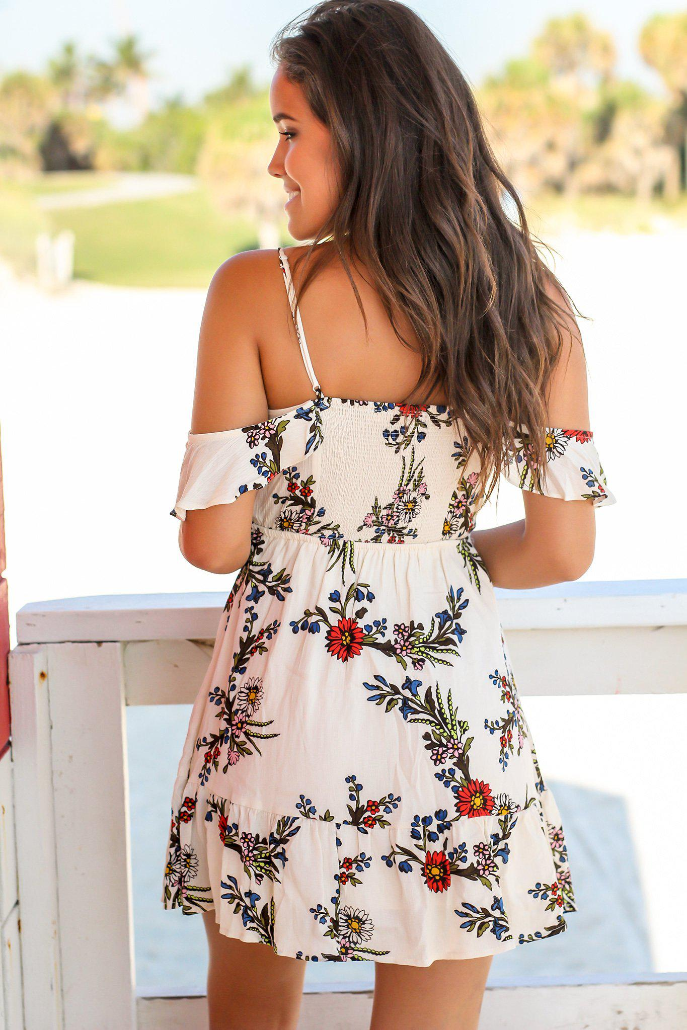 Beige Floral Off Shoulder Short Dress