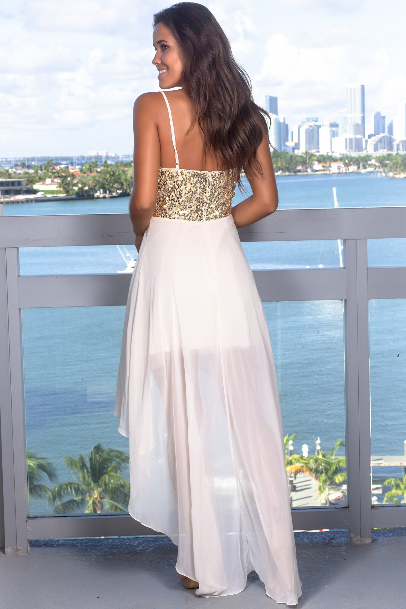 Beige High Low Dress with Sequin Top