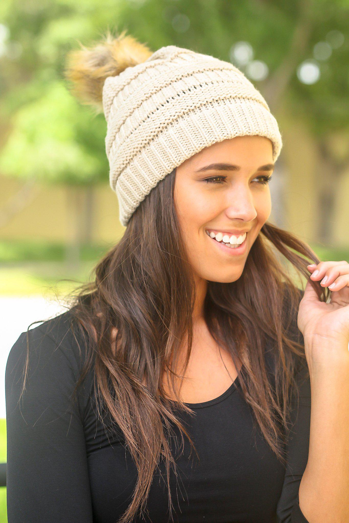 Beige Knit Beanie with Pom Pom
