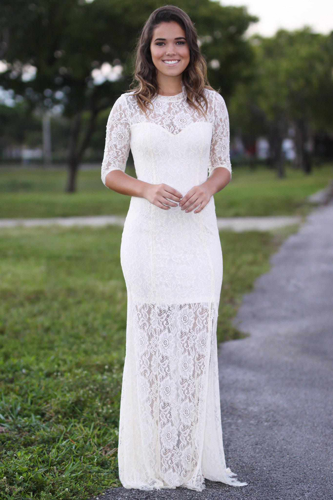 Beige Lace Maxi Dress with 3/4 Sleeves | Maxi Dresses – Saved by ...
