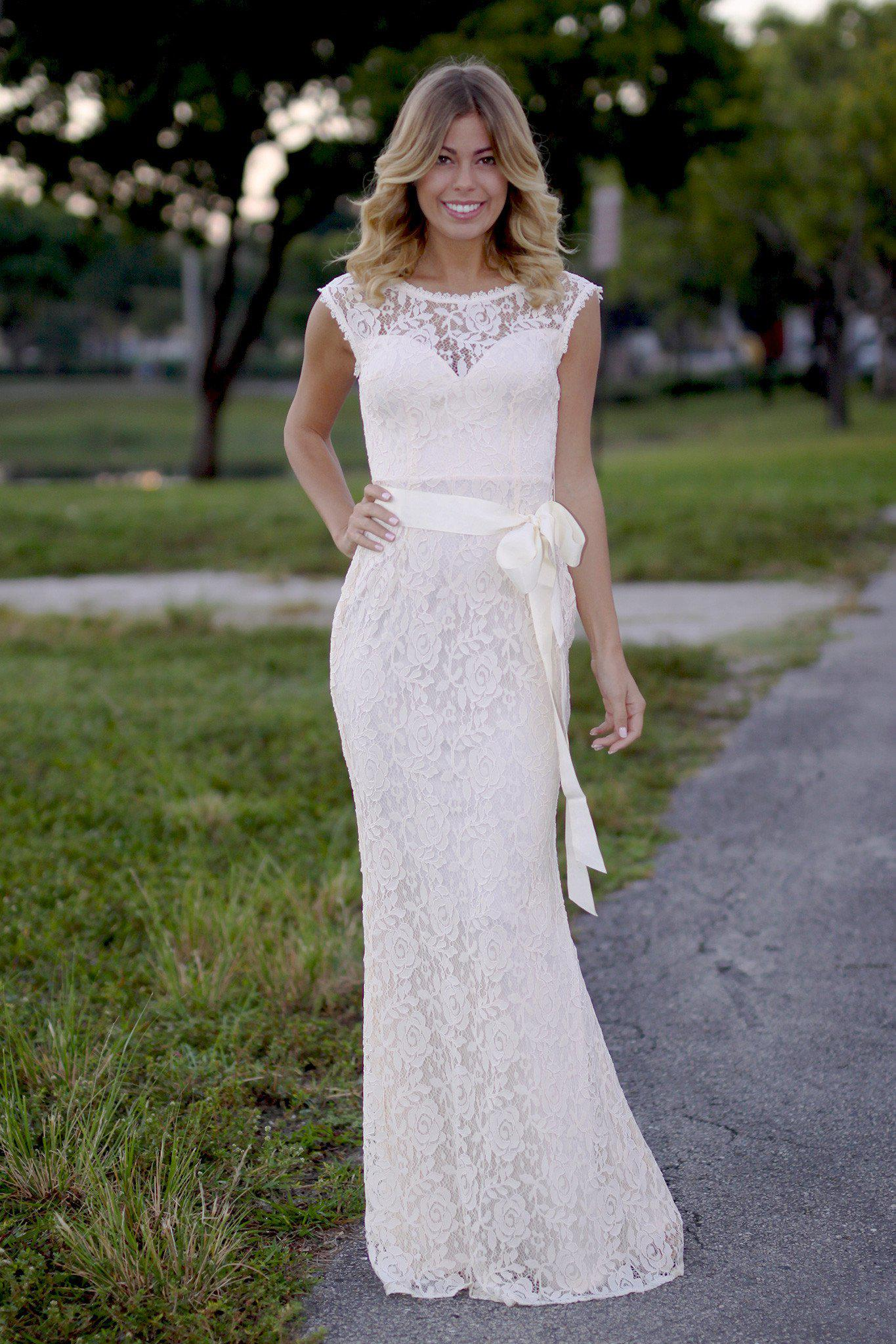 beige lace maxi dress with bow
