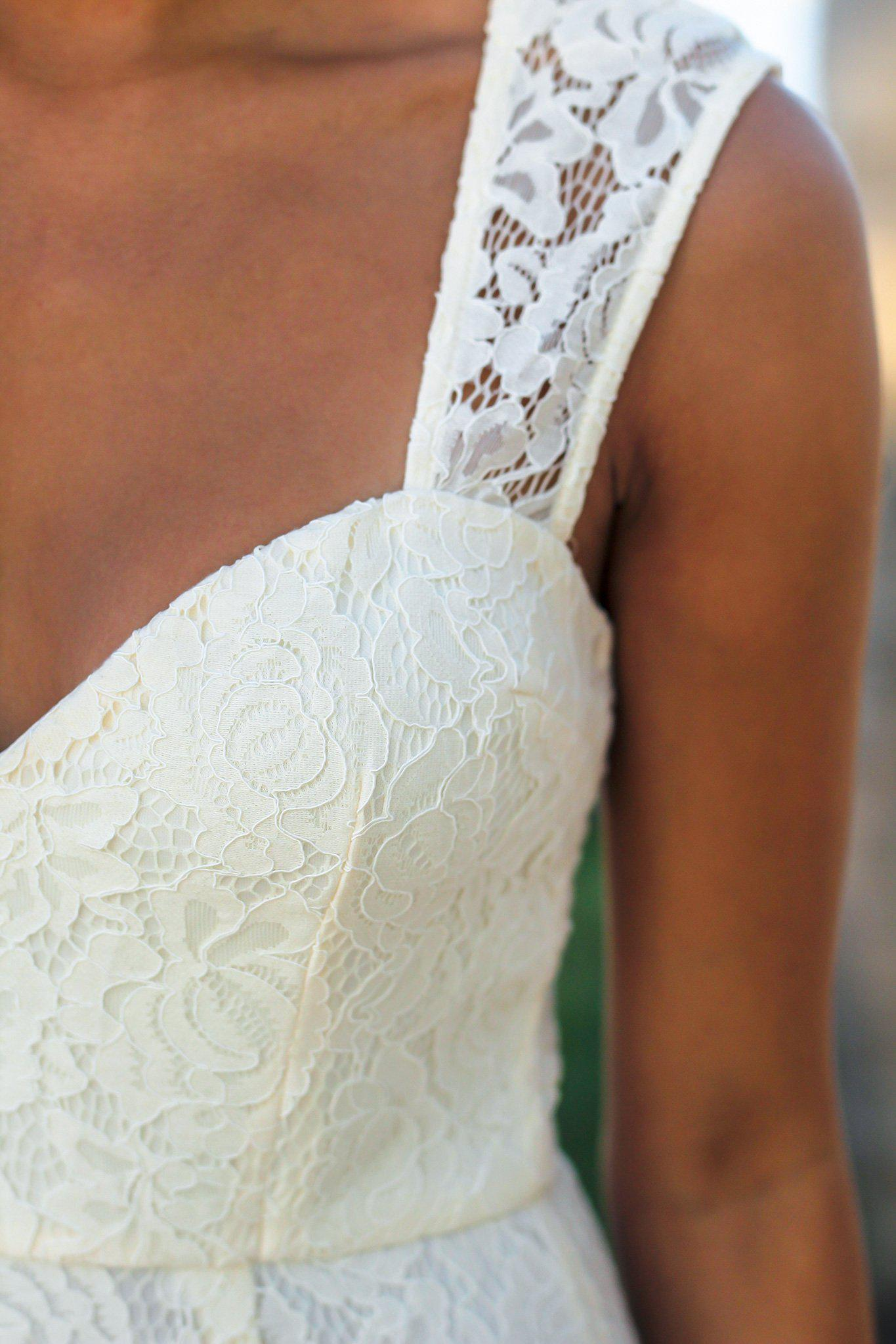 Beige Lace Maxi Dress with Keyhole Back