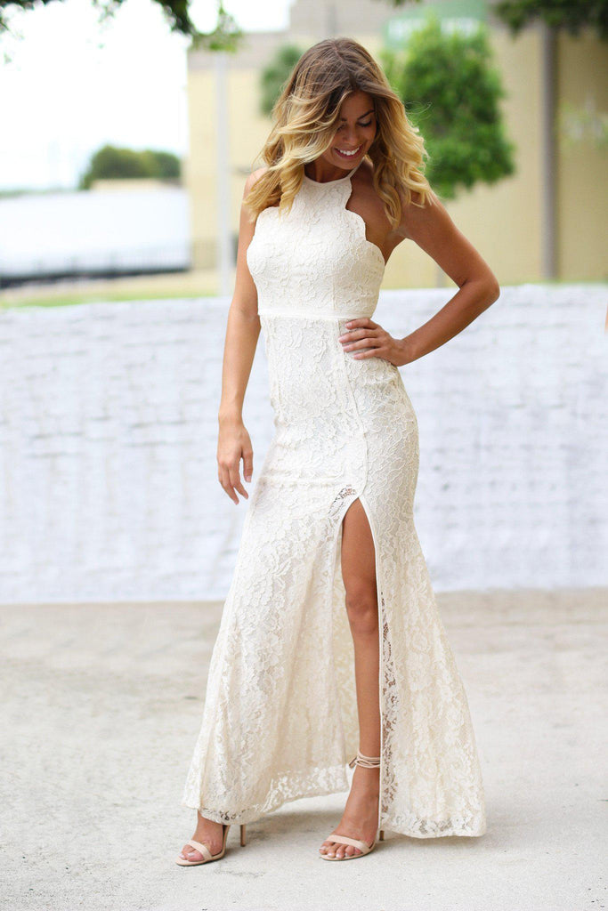 Beige Lace Maxi Dress with Side Slit