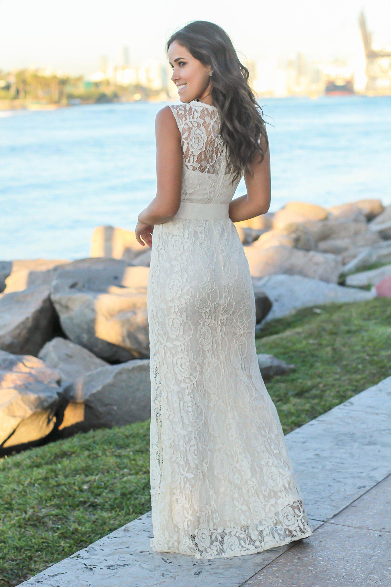 Beige Lace Maxi Dress with Tie Waist and Side Slit