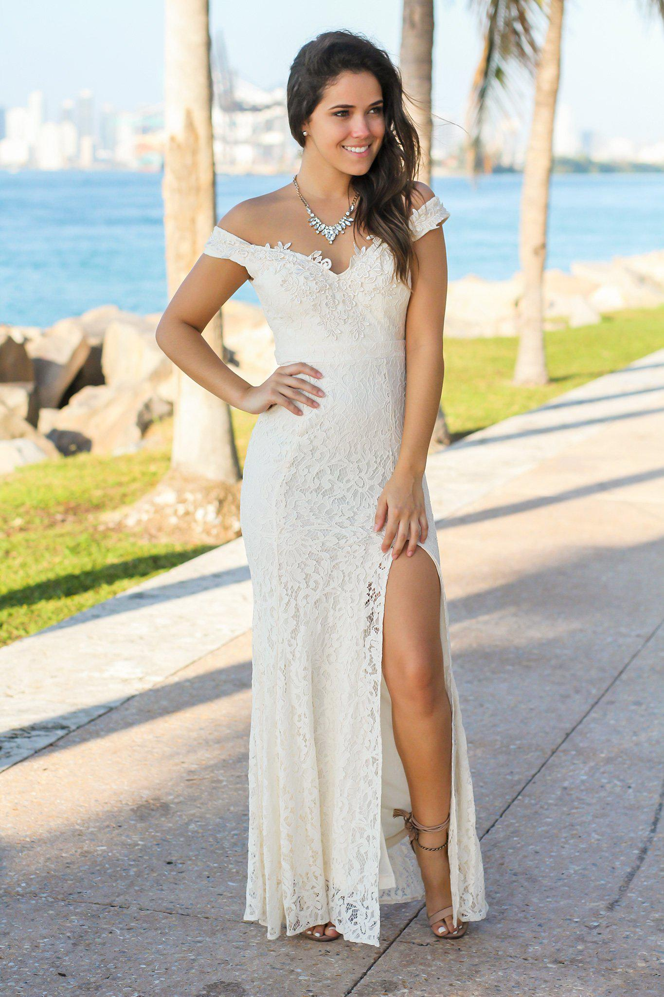 Beige Lace Off Shoulder Maxi Dress