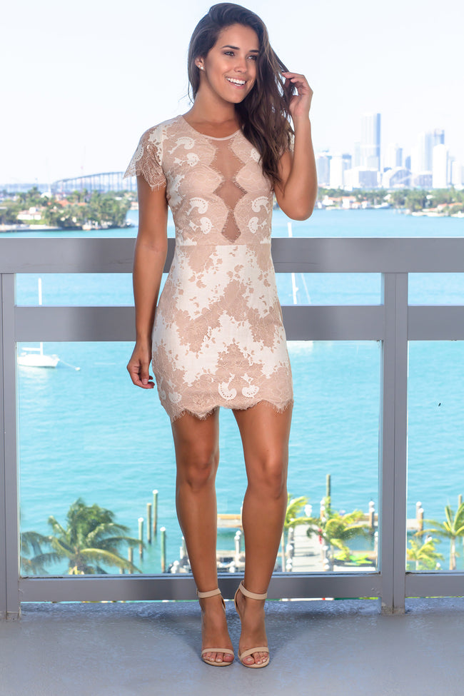 Beige Lace Short Dress