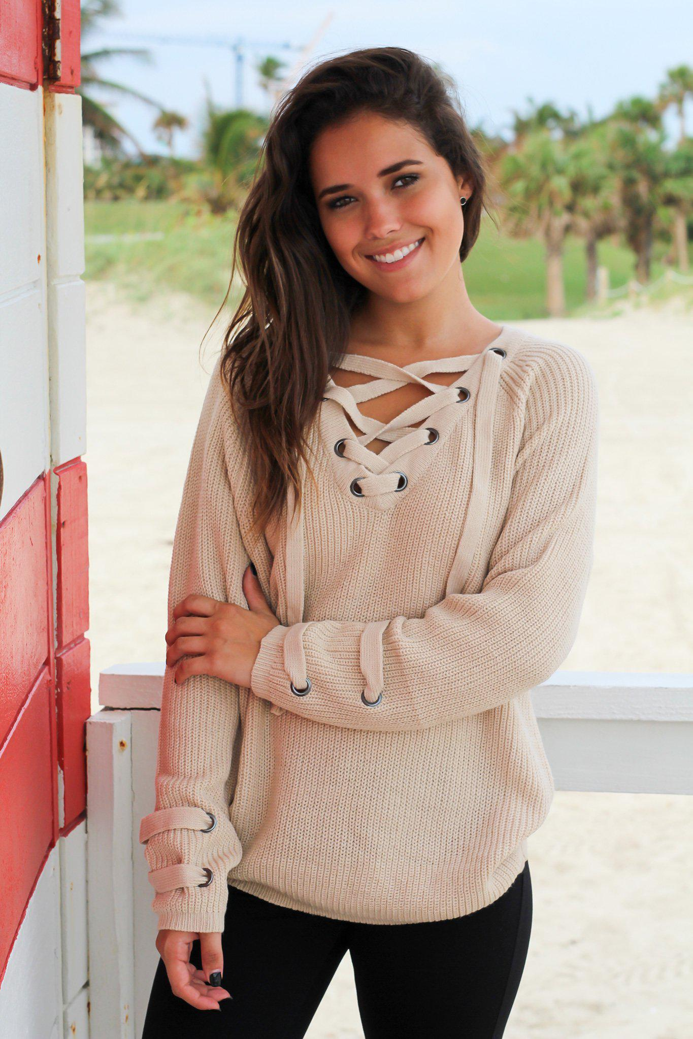 Beige Lace Up Knit Sweater