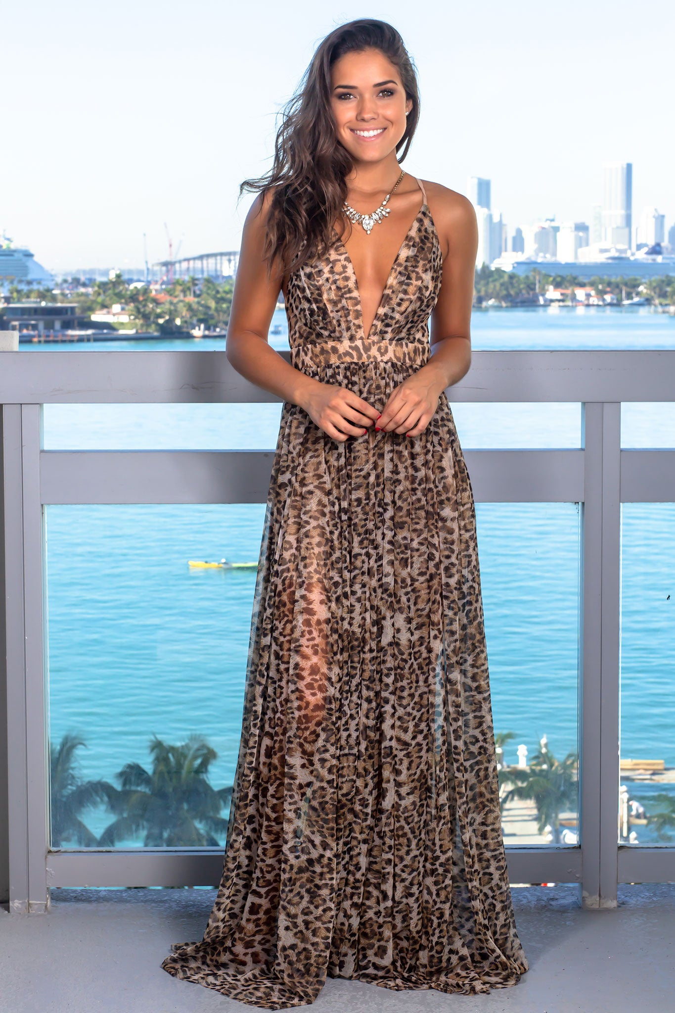 Beige Leopard Print Maxi Dress