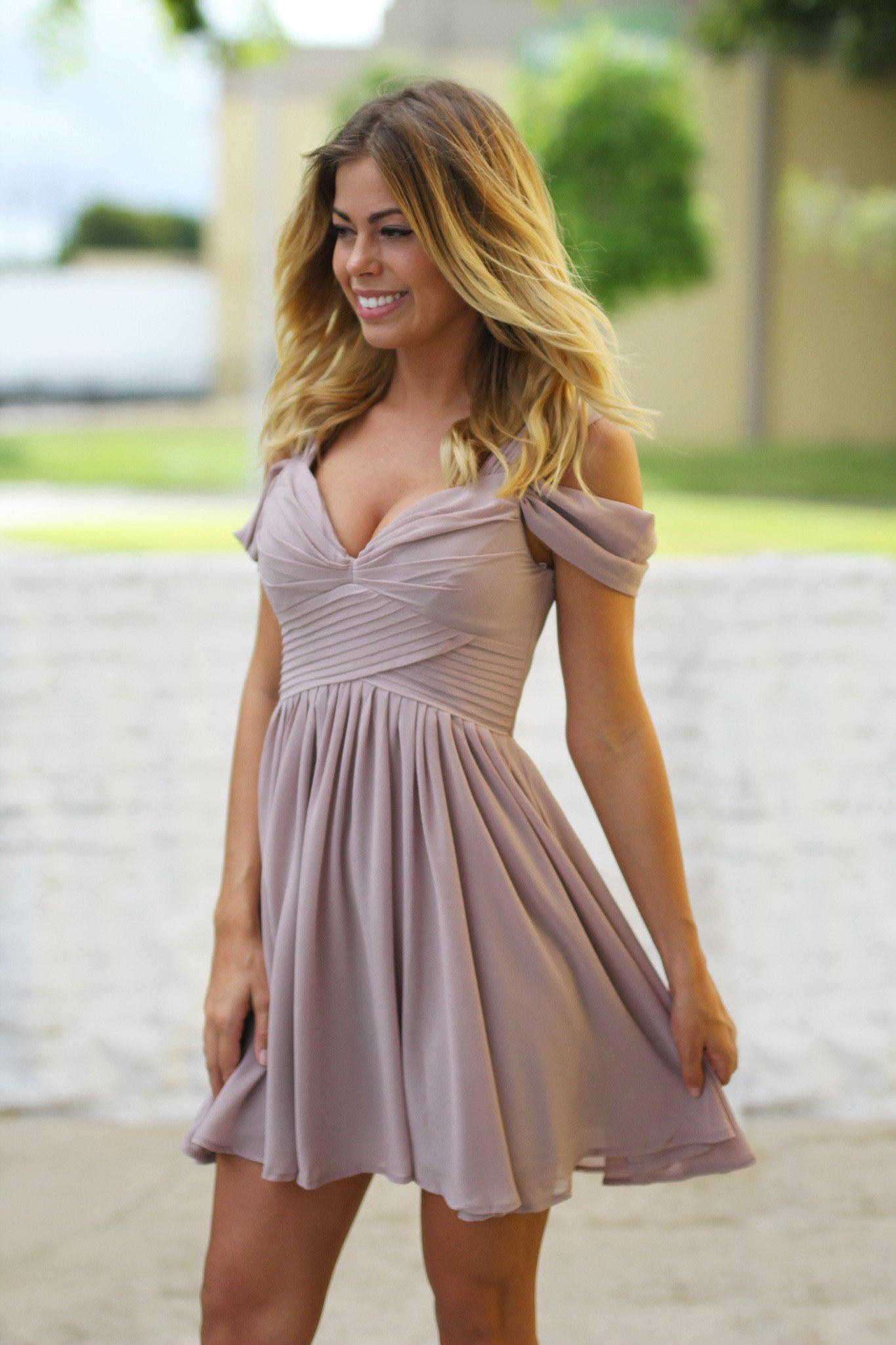 Beige off shoulder short dress