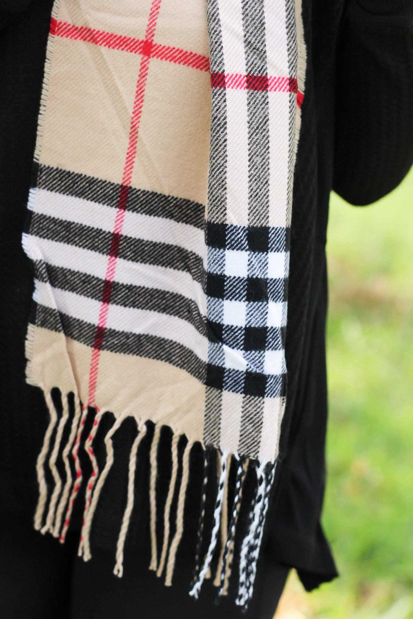 Beige Plaid Scarf with Fringe