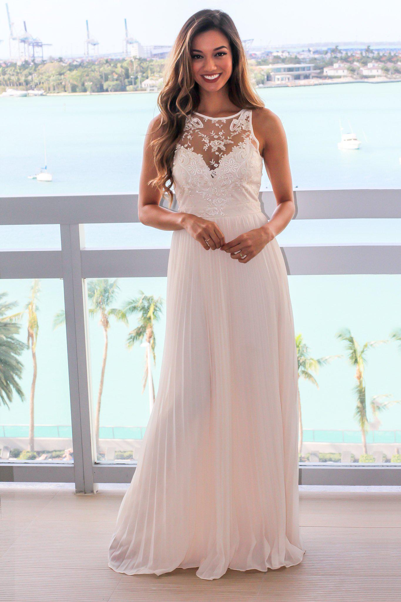 Beige Pleated Maxi Dress with Embroidered Top
