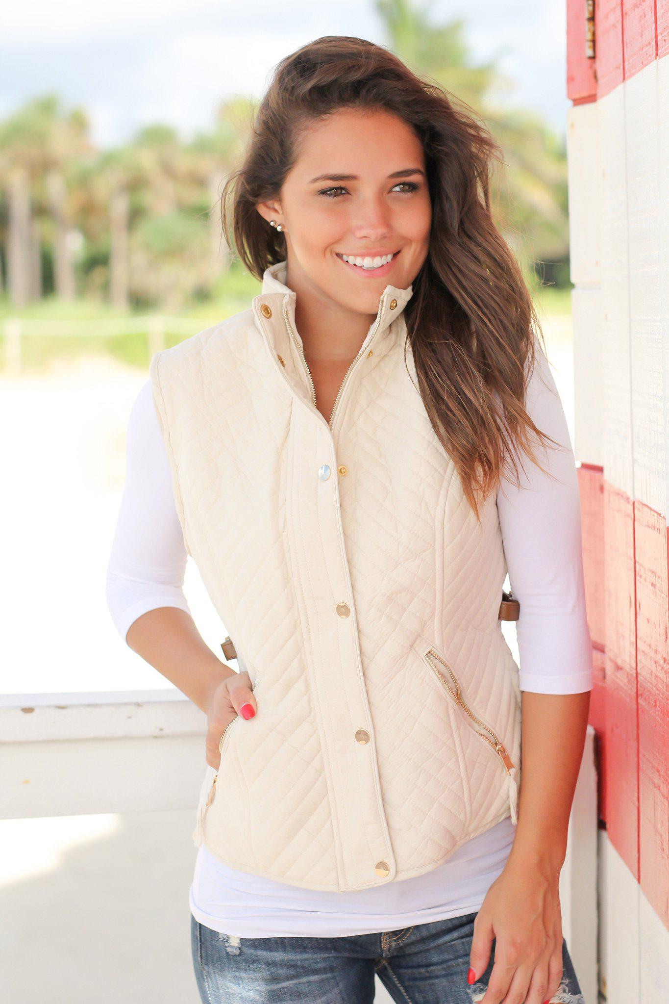 Beige Quilted Vest with Fur Lining