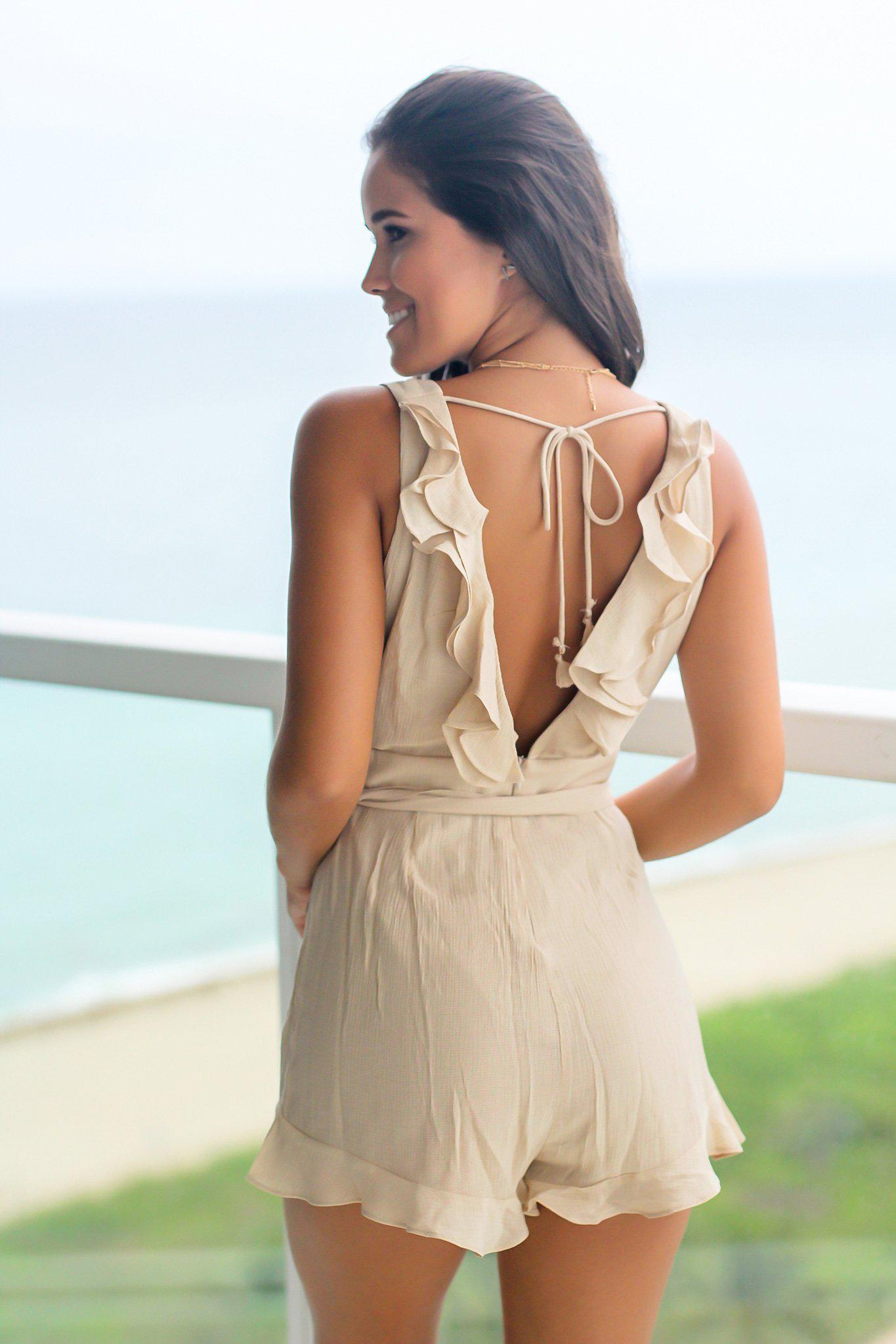 Beige Romper with Ruffles