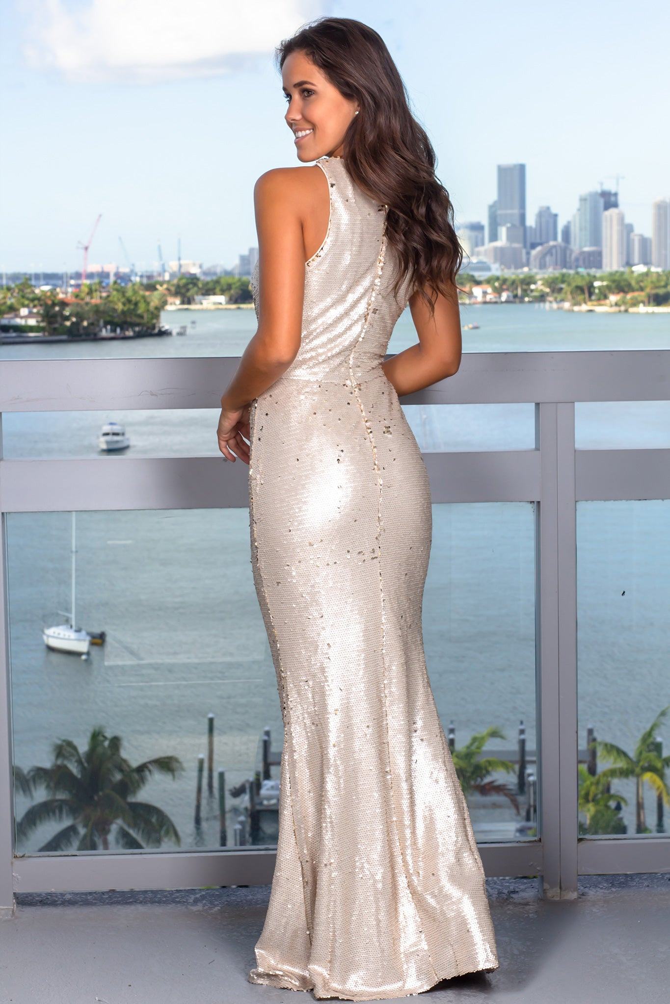 Beige Sequin Racerback Maxi Dress