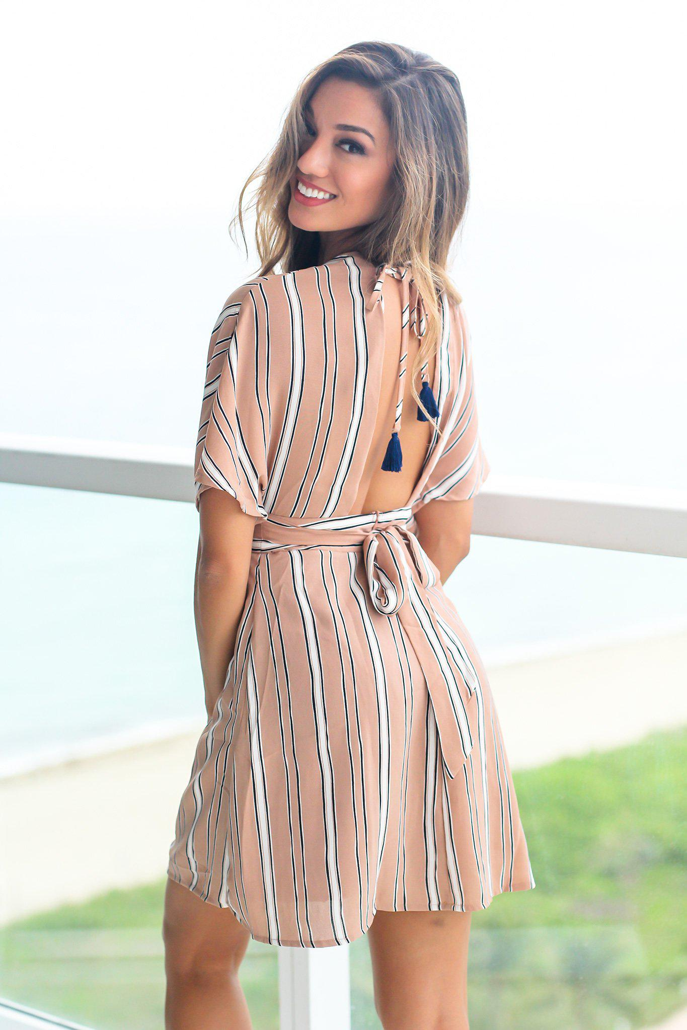 Beige Short Dress with Open Back and Button Details