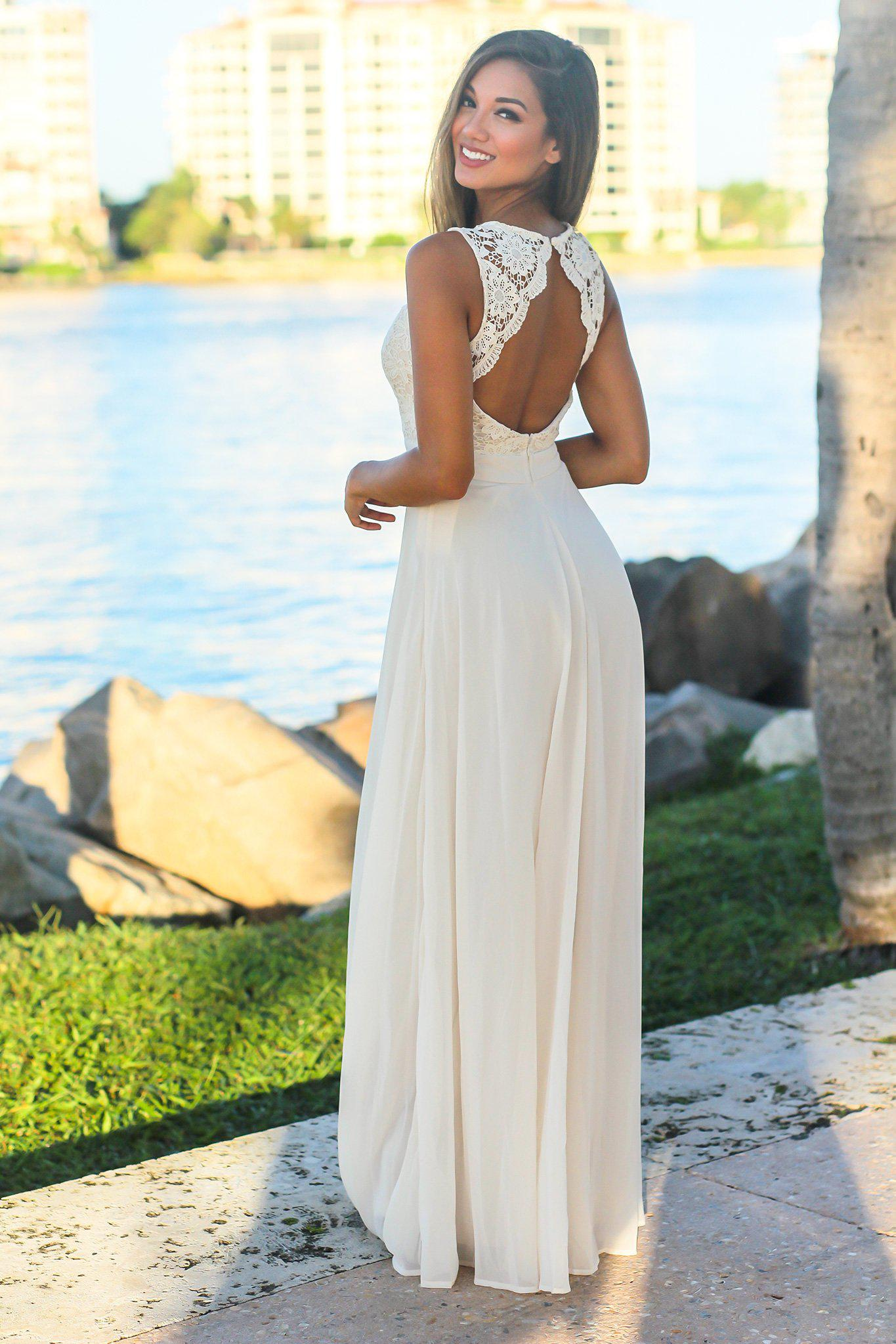 Beige Sleeveless Maxi Dress with Crochet Top