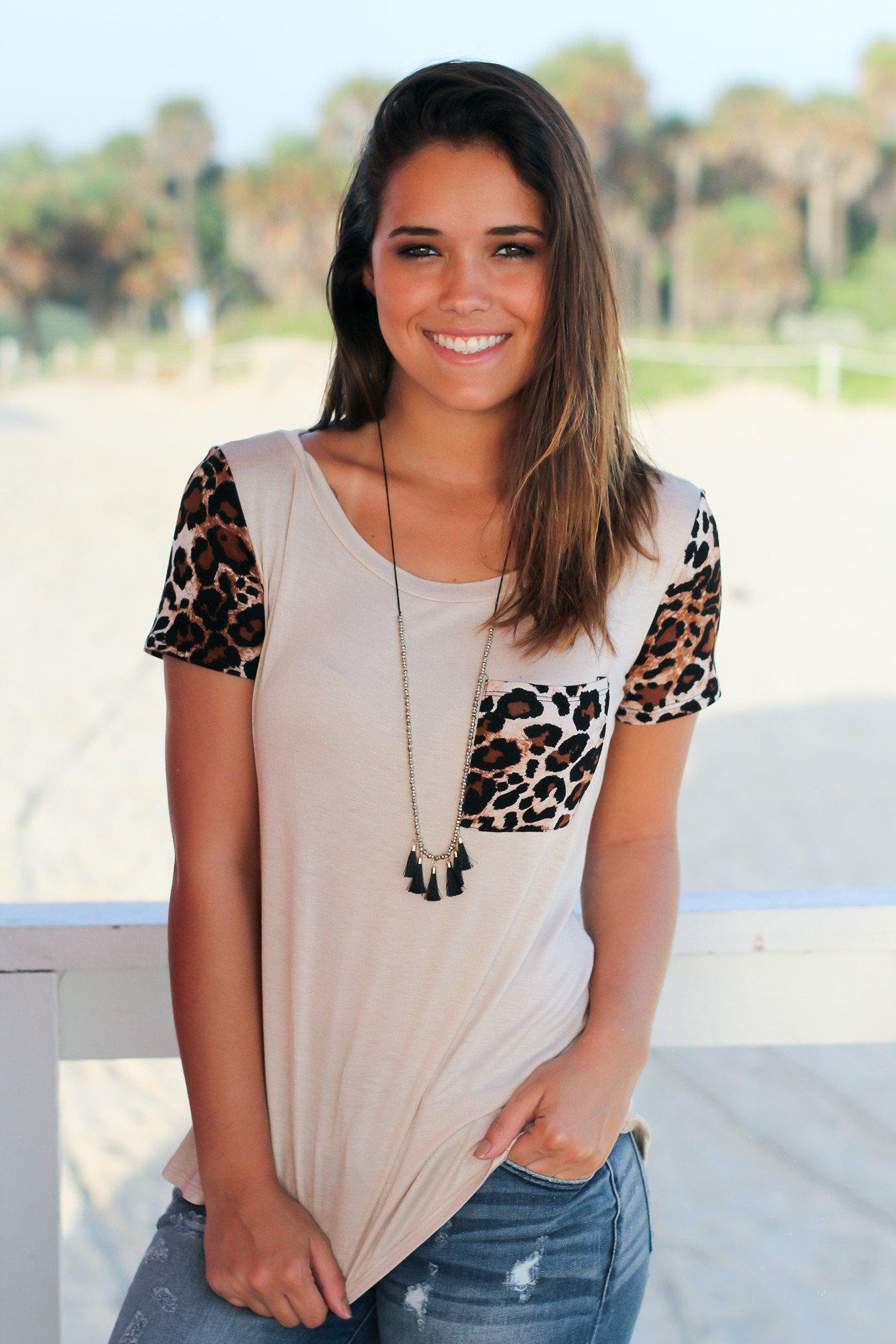 Beige Top with Leopard Sleeves and Pocket
