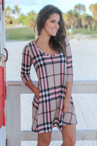 Beige and Pink Plaid Short Dress