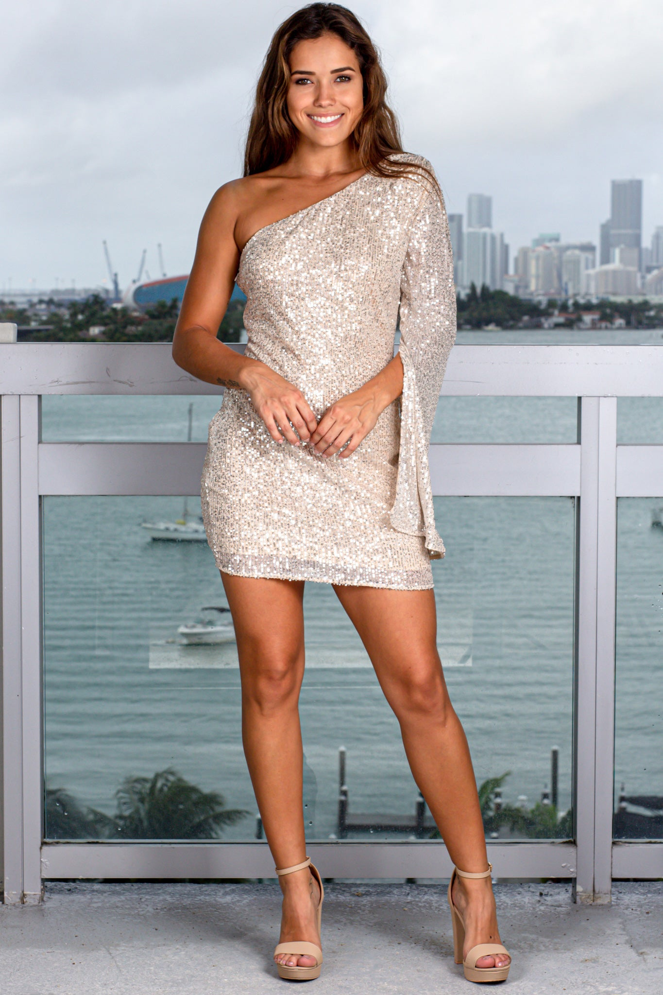 Beige and Silver One Shoulder Short Dress