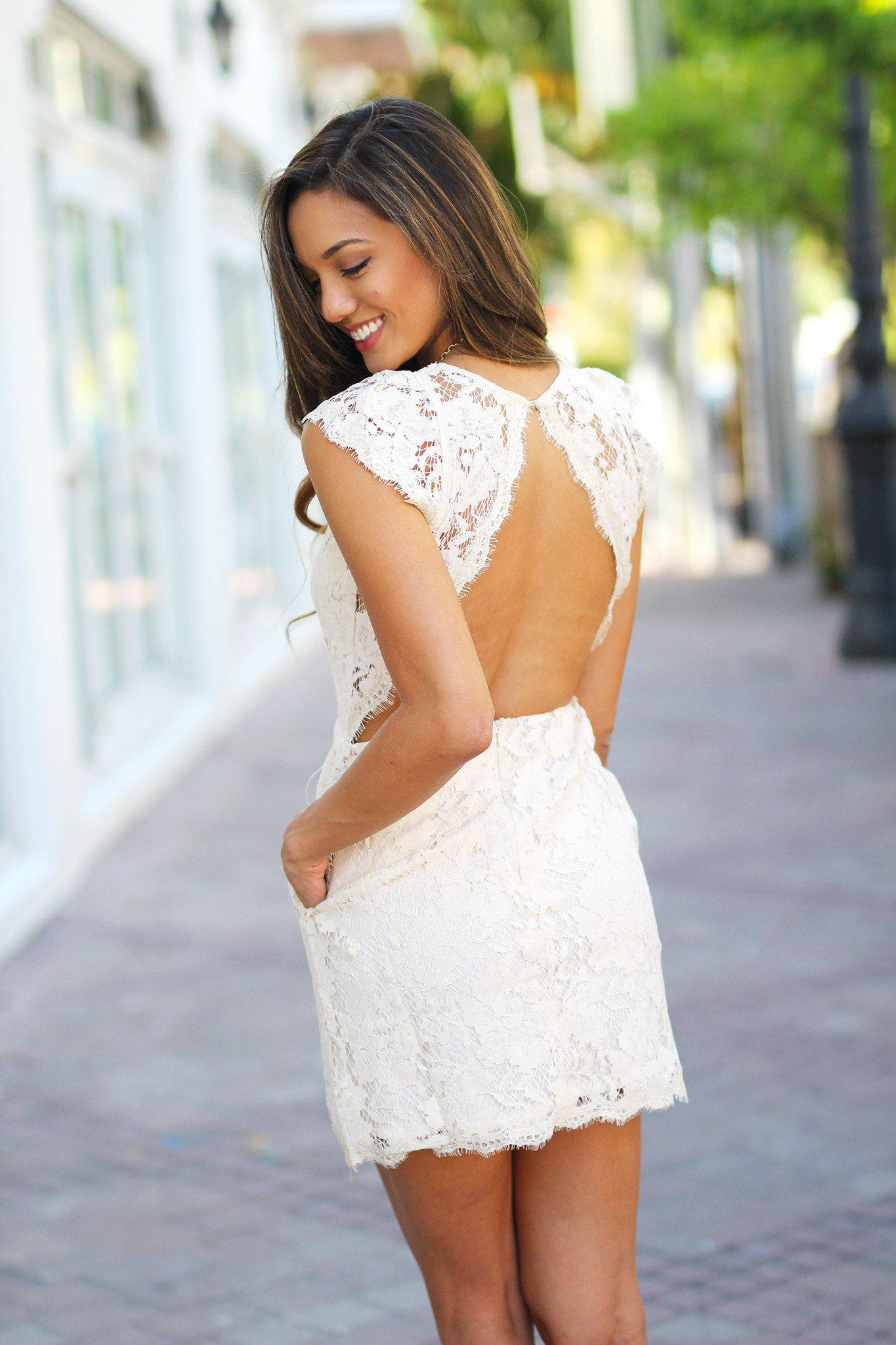 Natural Lace Dress with Open Back