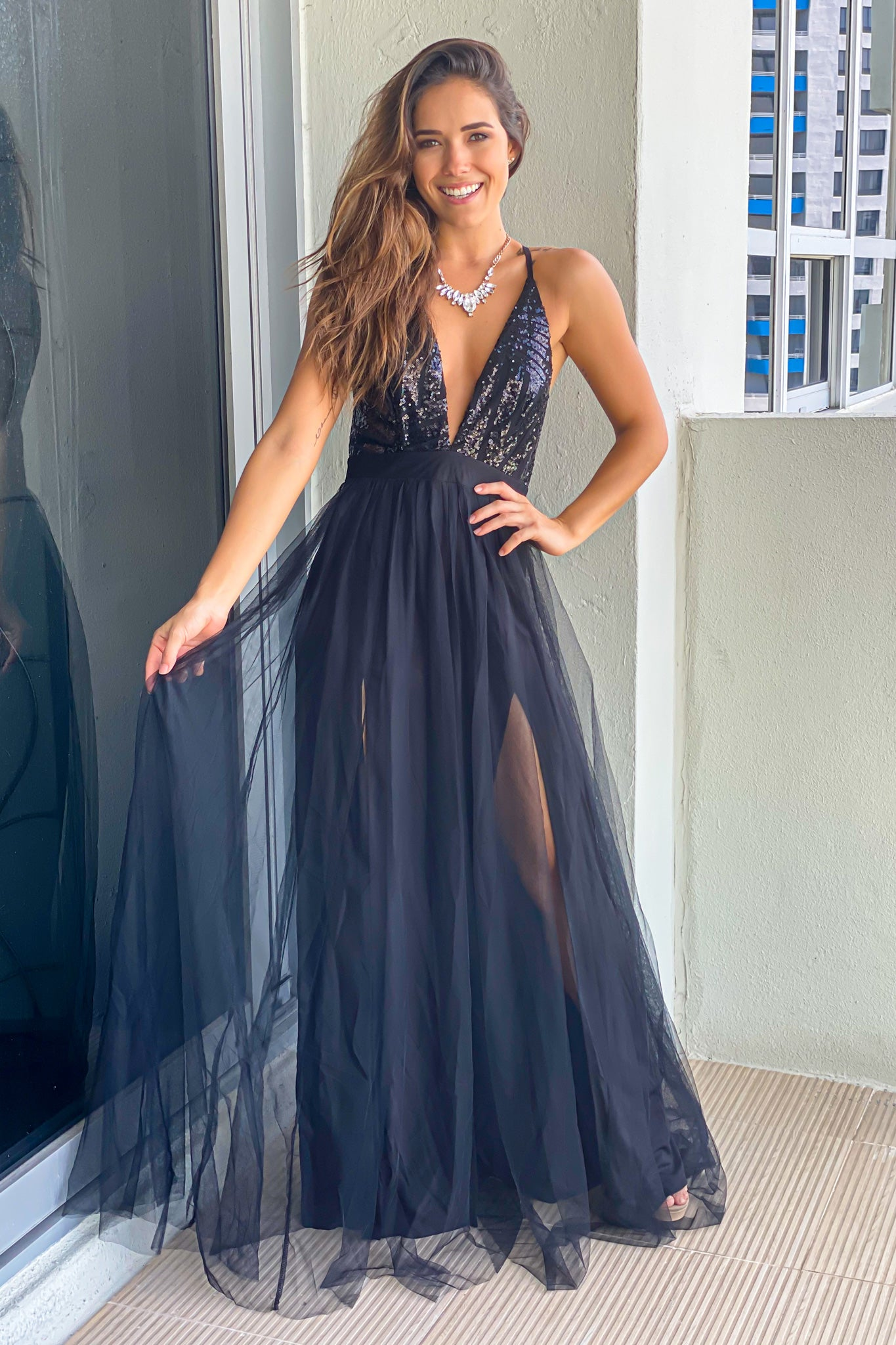 black tulle maxi dress with sequin top