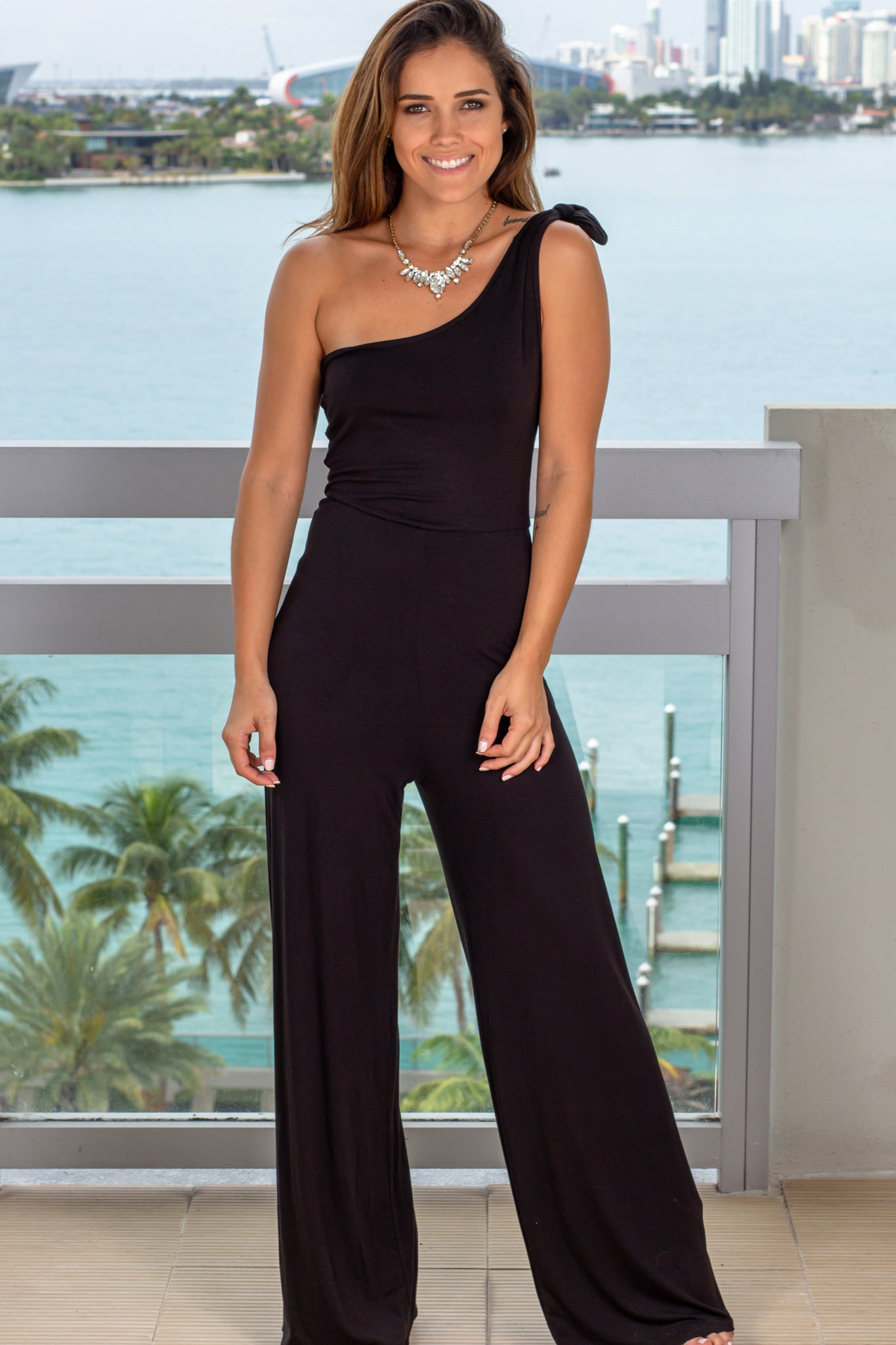 Black Jumpsuit with Tied Shoulder