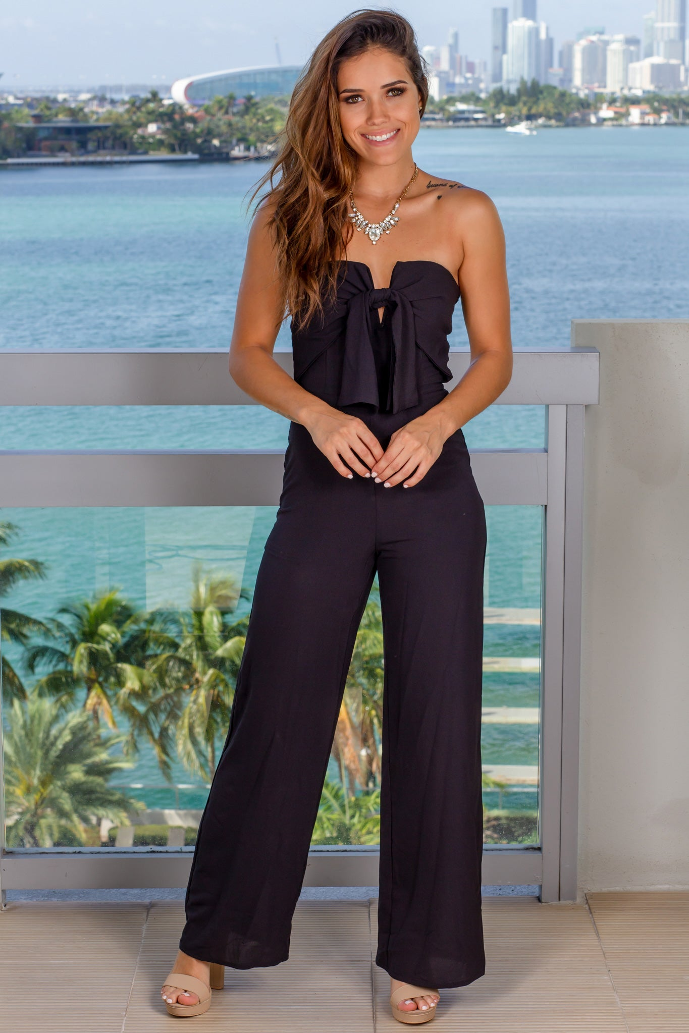 Black Strapless Jumpsuit with Tied Top