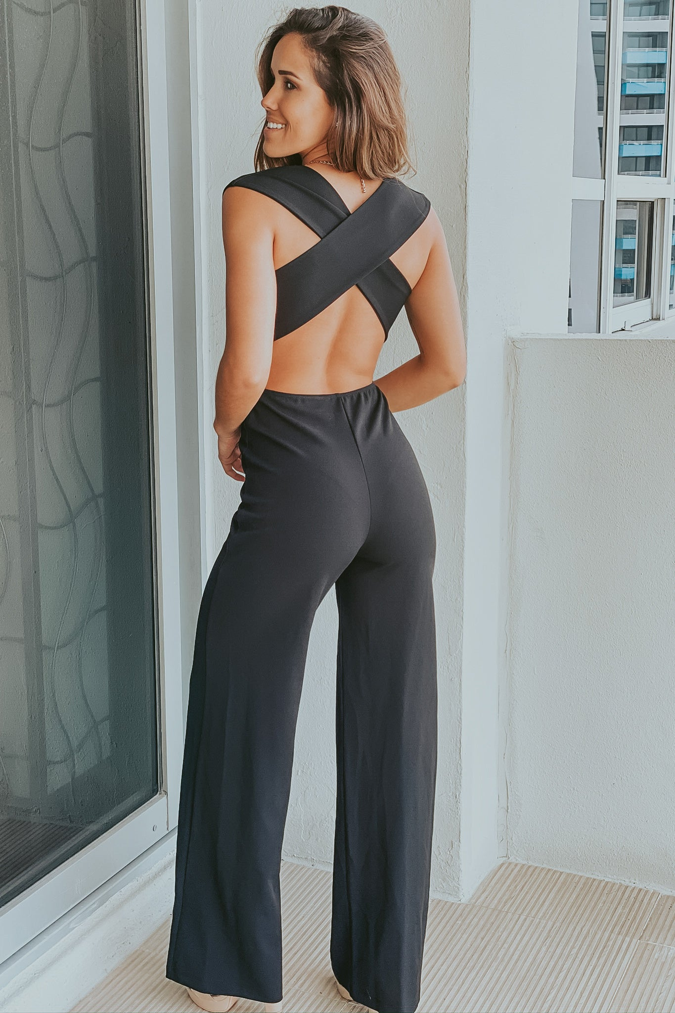 Black V-Neck Jumpsuit with Criss Cross Back