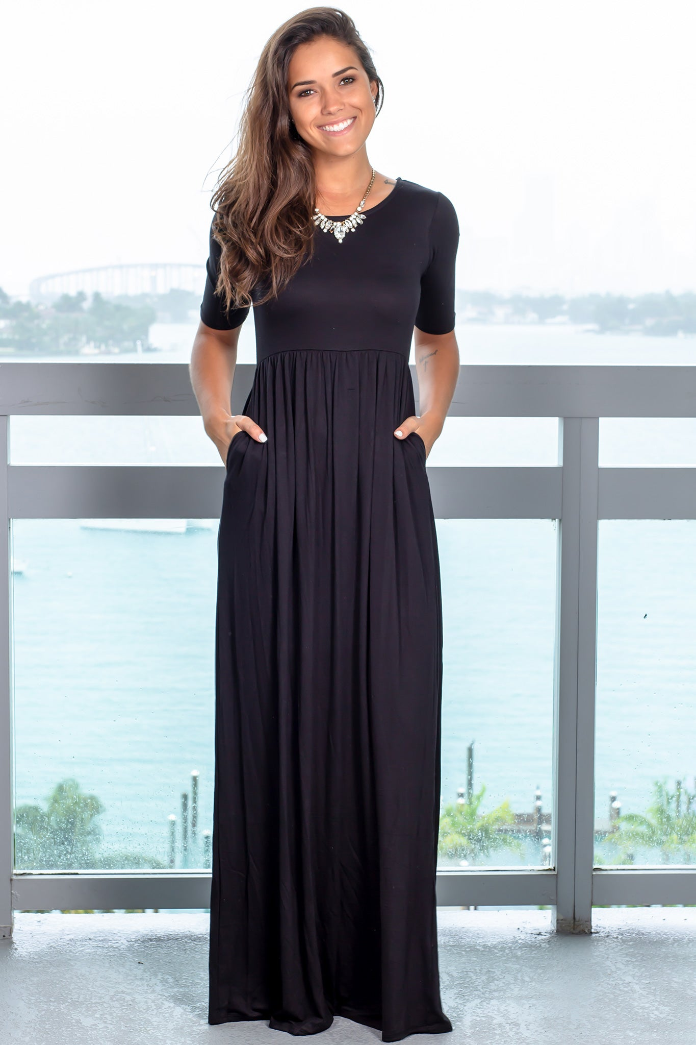 Black 1/2 Sleeve Maxi Dress with Pockets