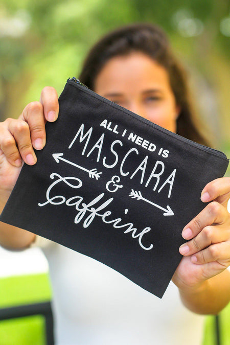 "Black ""All I need is Mascara and Caffeine"" Makeup Bag"