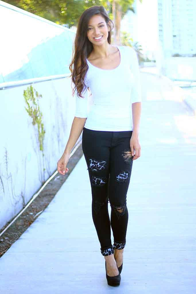 Black And Gray Leopard Patch Distressed Jeans