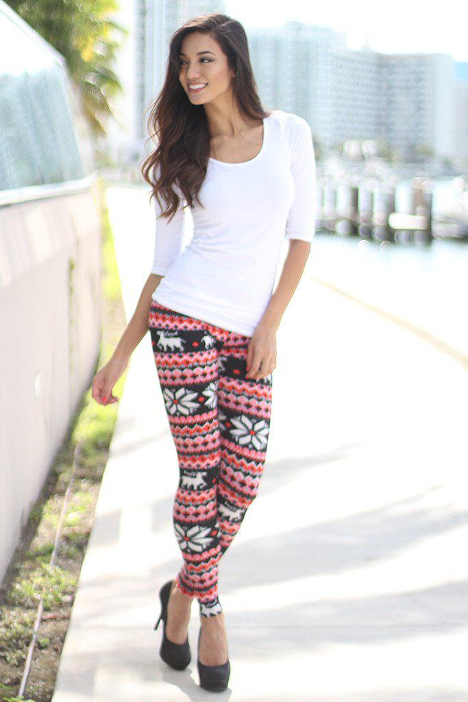 black and red Christmas leggings