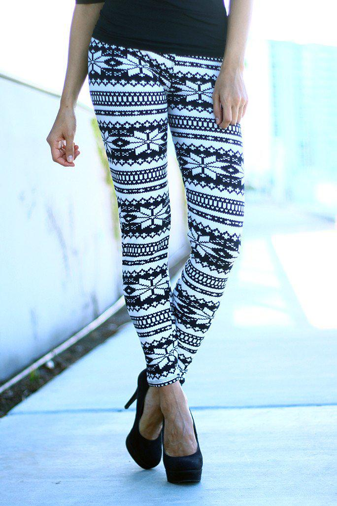Black And White Printed Leggings