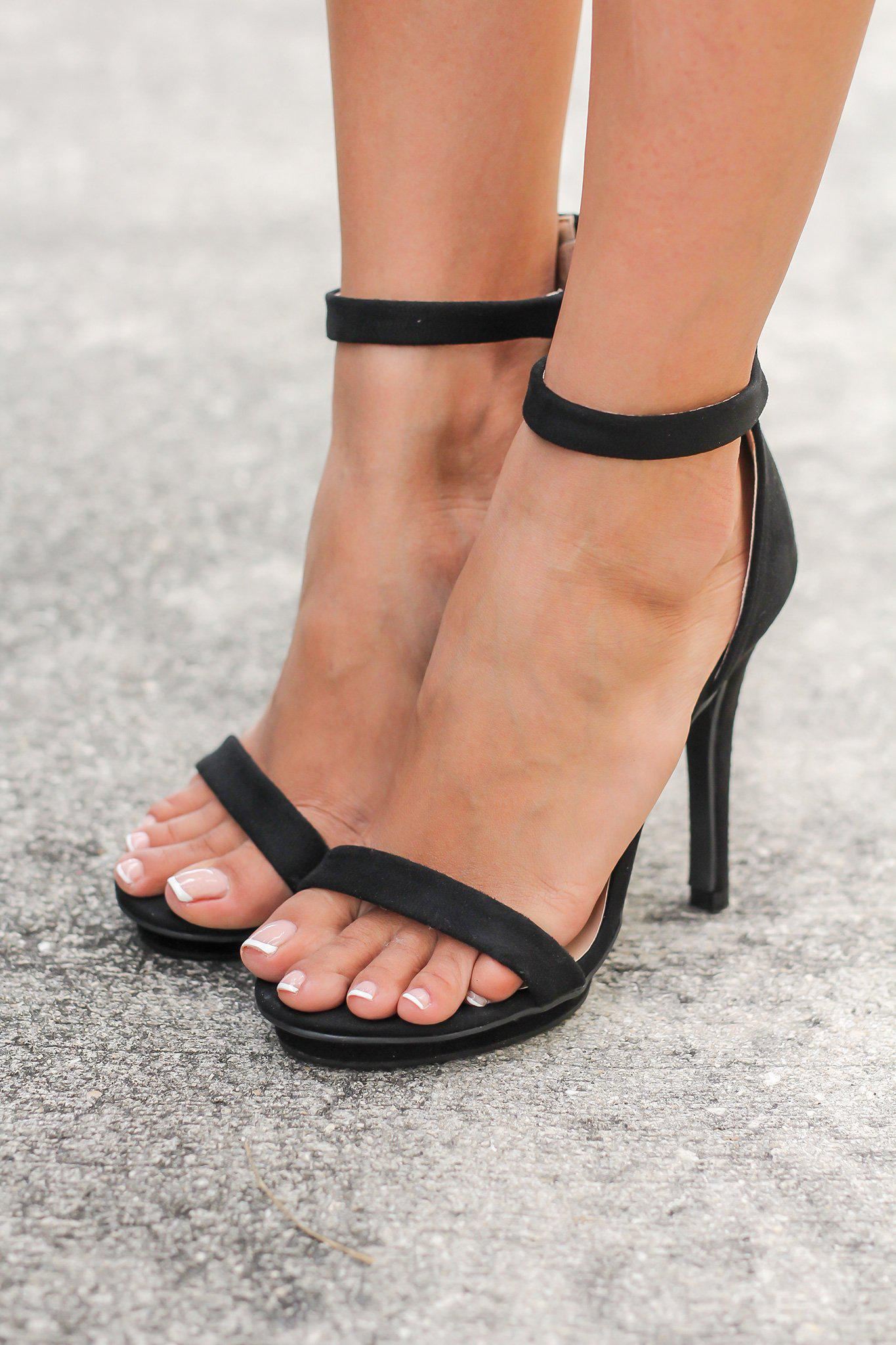 Black Ankle Strap Heels with Zipper