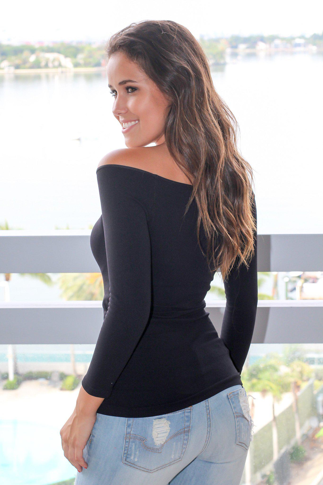 Black Boat Neck Top with 3/4 Sleeves
