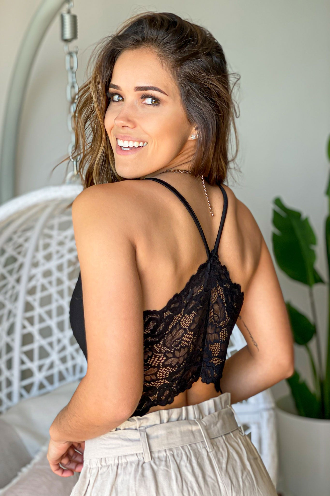 Black Bodysuit with Lace Back