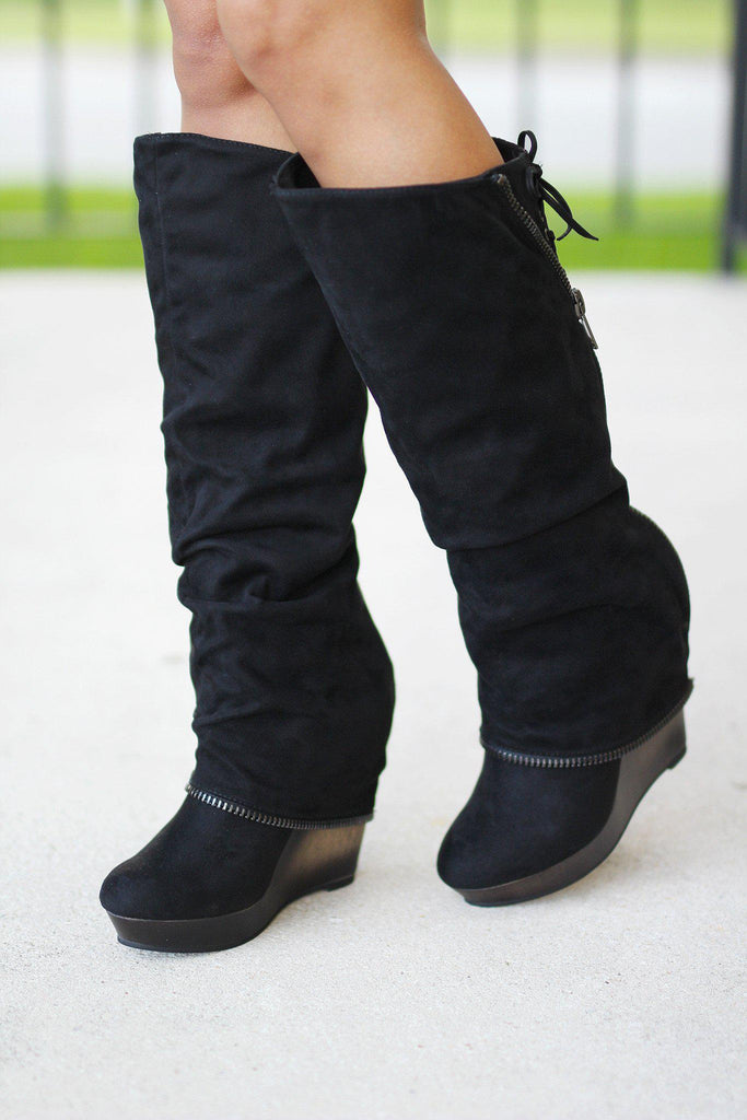 Castor Black Wedge Boots