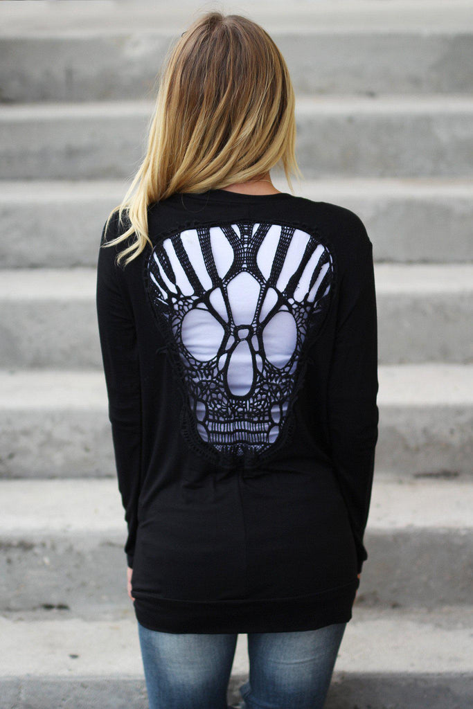 black cute cardi with skull detail