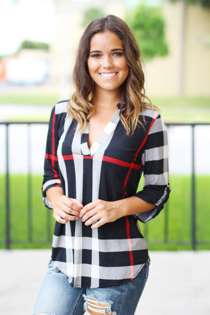black check print 3/4 sleeve top