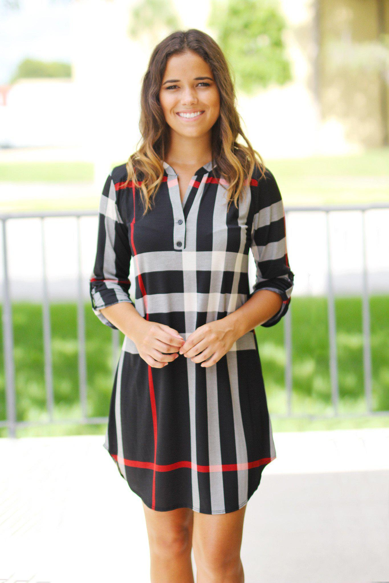 Black Check Print Short Dress with 3/4 Sleeves