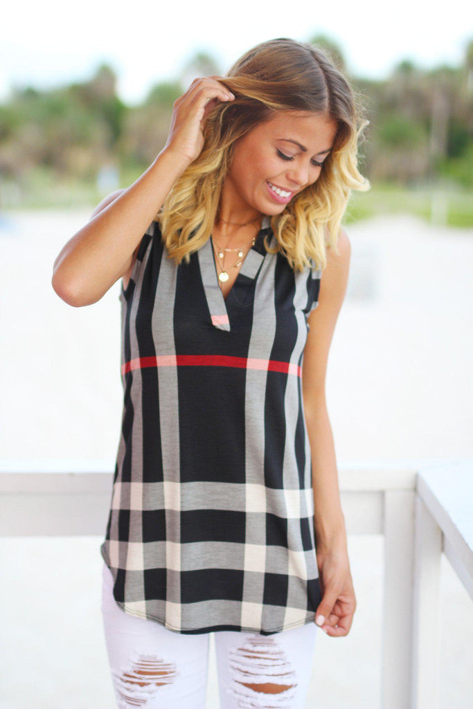 Black Check Print Sleeveless Top