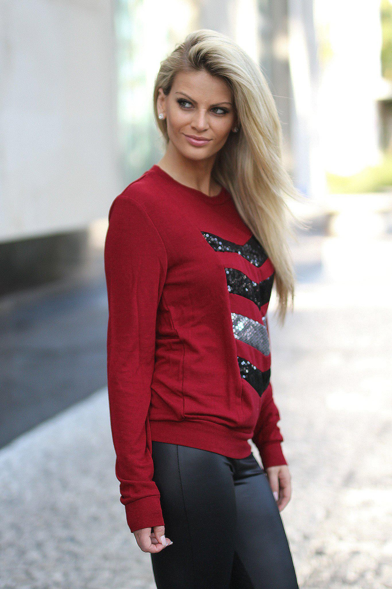 Burgundy And Black Chevron Sequin Top