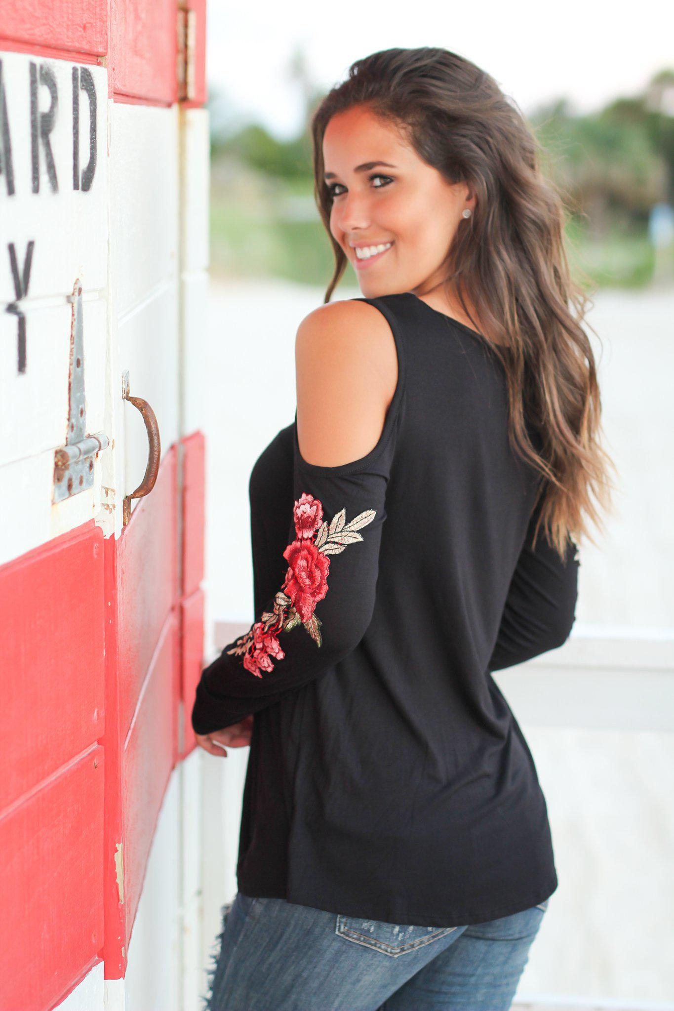 Black Cold Shoulder with Rose Embroidery